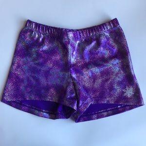 Snowflake Designs Purple Foil Gymnastics Shorts S